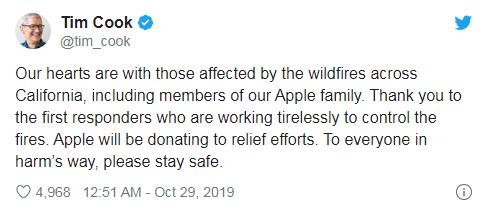 苹果将为加州野火救济工作提供资金援助