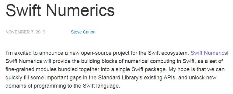 苹果发布 Swift 的数学计算项目:Swift Numerics