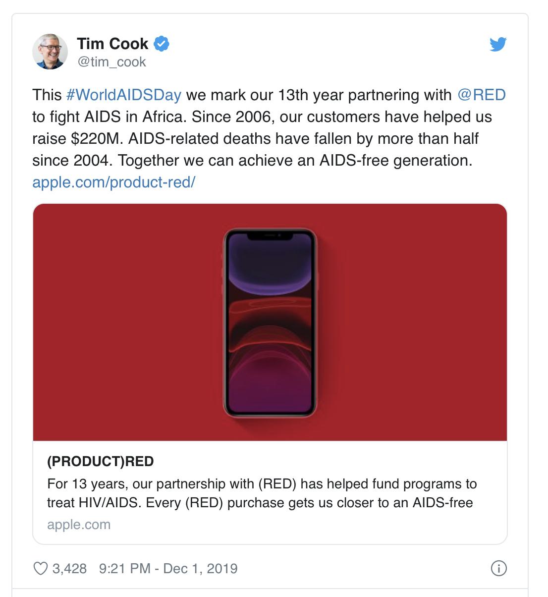 13 年间苹果共捐赠 2.2 亿美元用于抗击 AIDS