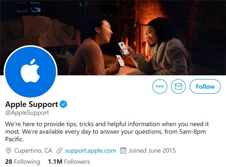 苹果支持官方账户页面疑似展示无刘海的 iPhone