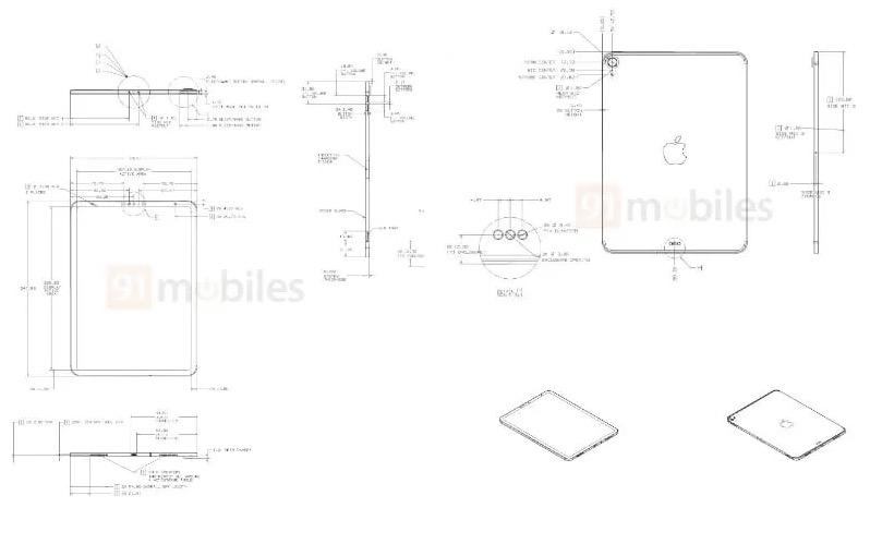 外媒分享数张疑似为全新 10.8 英寸 iPad 的设计图