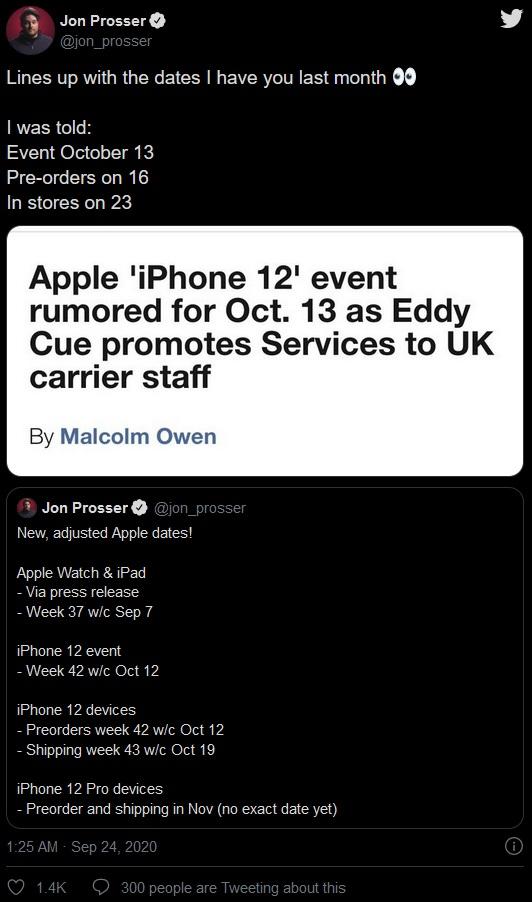 消息人士证实,苹果在10月13日发布了iPhone 12,Pro系列也是后来才到货的